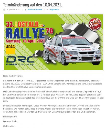 Terminverschiebung Rallye Ostalb auf den 10.4.2021