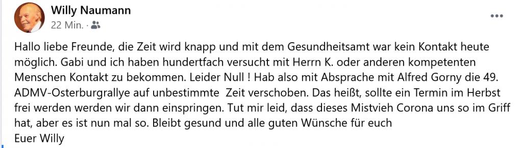 Rallye Osterburg am 19.06.21 endgültig abgesagt
